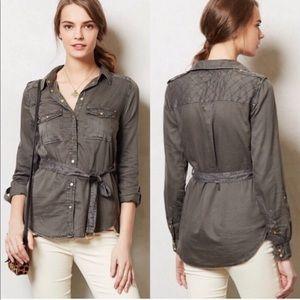 Anthropologie Maeve Grey Button-Up Shirt